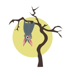 Grey bat hanging on a dry tree vector image