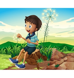 A stump with a young boy sitting vector image