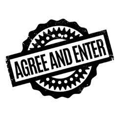 Agree And Enter rubber stamp vector