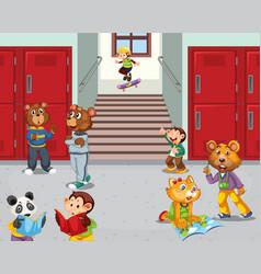 Animal student at school hallway vector