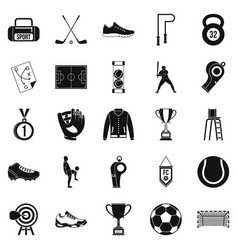Athlete icons set simple style vector