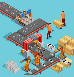 Automated Factory Production Line Isometric Poster vector