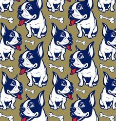 Background cartoon style french bulldog smile vector
