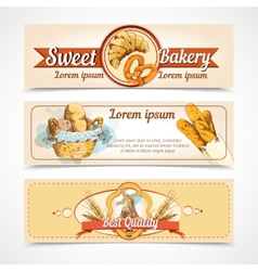 Bakery hand drawn banners vector image
