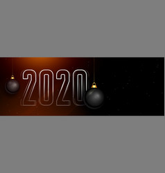 beautiful 2020 dark happy new year banner with vector image