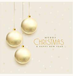 beautiful hanging christmas balls background vector image