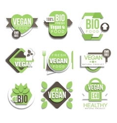 Bio Natural Vegan Product Logo Collection vector image