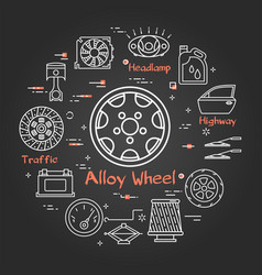 black linear banner of alloy wheel vector image