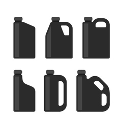 Blank Black Plastic Canisters Icons Set for Motor vector image vector image