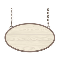 Blank oval wooden signboard hanging on metallic vector