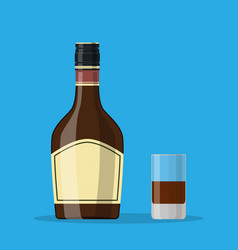 bottle of grass liquor with shot glass vector image