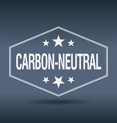 Carbon-neutral hexagonal white vintage retro style vector
