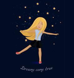 Card with girl dreams come true vector