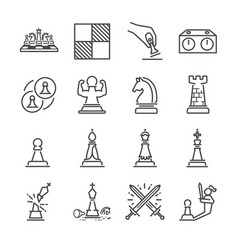 chess line icon set vector image