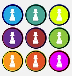 Chess Pawn icon sign Nine multi colored round vector image
