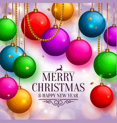 Christmas background with colorful balls vector