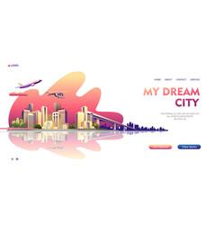 City buildings landscape concept banner vector