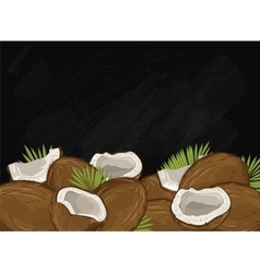 Coconut fruit composition on chalkboard vector