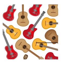 Colorful background with electric guitars set vector