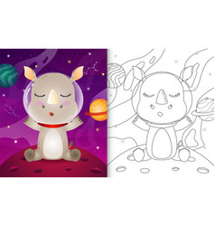 Coloring book for kids with a cute rhino vector