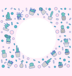 Compositon of doodle cactus design set vector