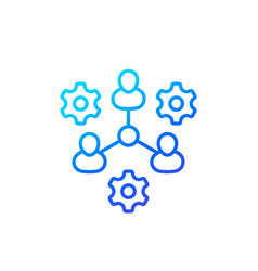 Cooperation combined effort line icon vector