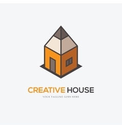 Creative logo with pencil and house vector