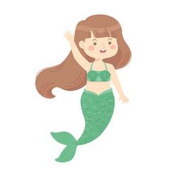Cute mermaid green cartoon vector