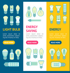 different lamp or light bulbs line icons banner vector image