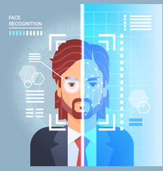 Face recognition system scanning eye retina of vector