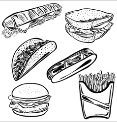 Fast Food set B vector