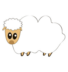 fat sheep on white background vector image
