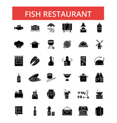 Fish restaurant barbeque thin line vector