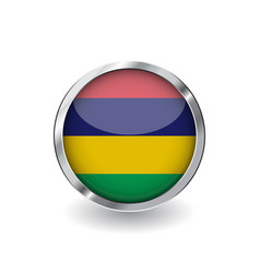 flag of mauritius button with metal frame and vector image