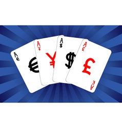 Four currency aces vector