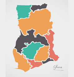 Ghana map with states and modern round shapes vector