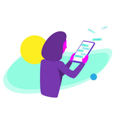 girl with a touchscreen tablet vector image