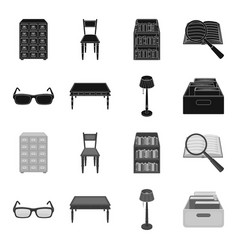 Glasses a wooden table a floor lamp a box with vector