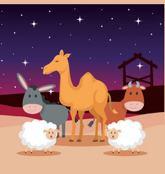 group of animals manger characters vector image