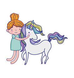 happy boy hugging beauty unicorn vector image