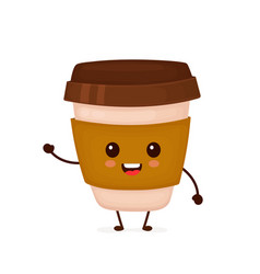 happy cute smiling funny coffee paper cup vector image