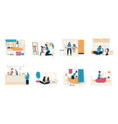 Happy mother daughter pastime at home scene set vector