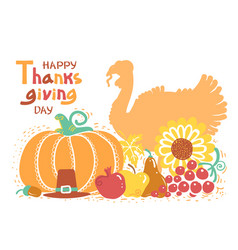 happy thanksgiving day card with turkey bird and vector image