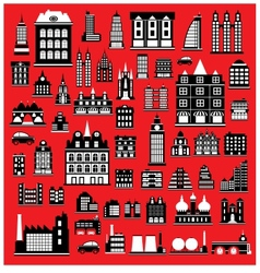 Houses on the red vector image