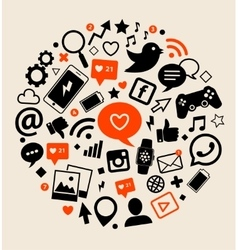 Icons of social network vector image