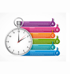Infographic with a stopwatch and multi-colored vector