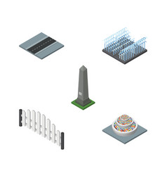 Isometric street set of path plants barricade vector