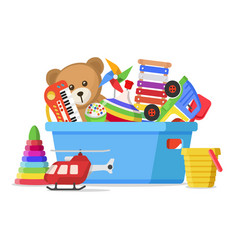 Kids toys in a box vector