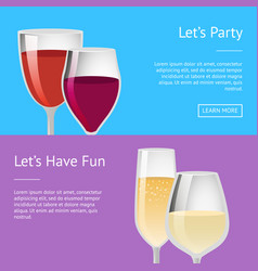 lets party and have fun pair glasses wine vector image