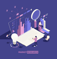 Market research isometric poster vector